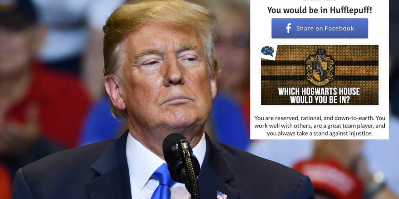 Trump Files Lawsuit Against Facebook After Quiz Says He's In House Hufflepuff